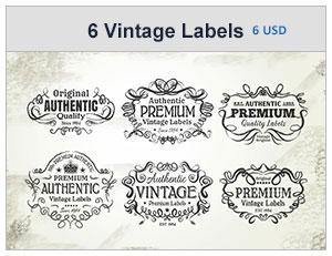 six vintage labels