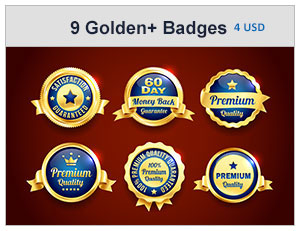 Gold And Silver Premium Quality Badges