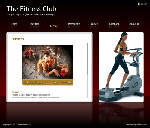The Fitness Club - Services page with video content;
