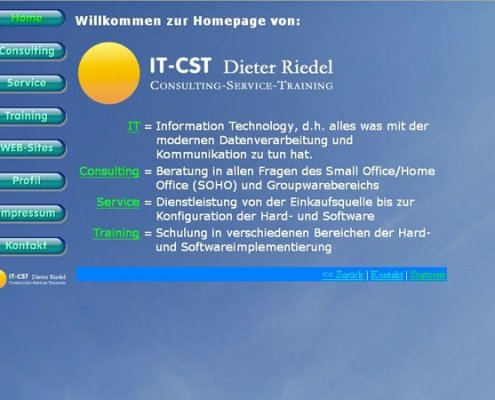 Previous German home page of IT-CST, Germany