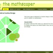 the mathscaper Home page with Flash animation, with dynamic three state navigation menu;