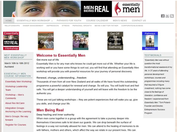 Essentially Men Redesign - Customising a WordPress Pagelines template;