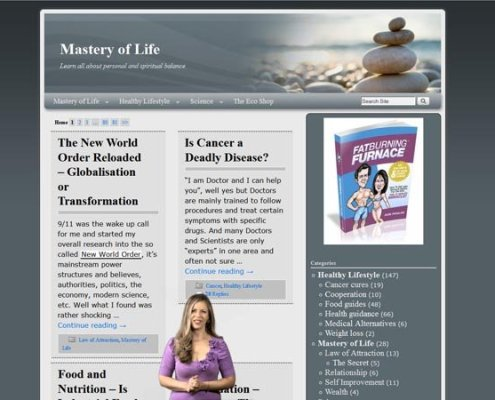 Mastery of Life Home page with three state navigation, ad space and welcoming animation;