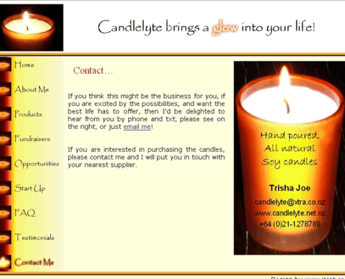 Candlelyte Contact page;