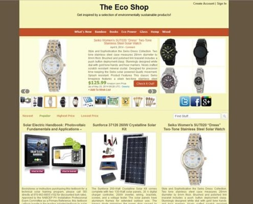 The Eco Shop Home page with three state navigation, product slider, ad space and recent articles listing;