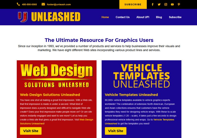 Unleashed Productions Inc WordPress site
