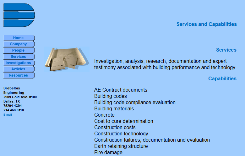 Drebelbis Engineering Services Page Before