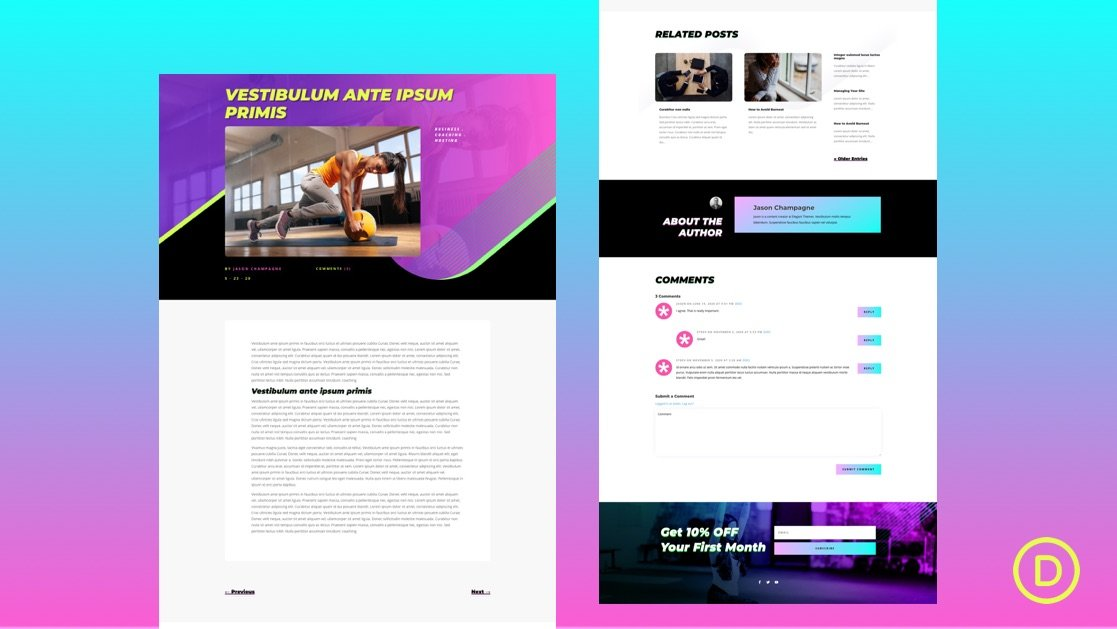 Get a FREE Blog Post Template for Divi's Virtual Fitness Layout Pack