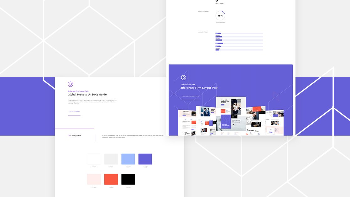 Download a FREE Global Presets Style Guide for Divi's Brokerage Firm Layout Pack