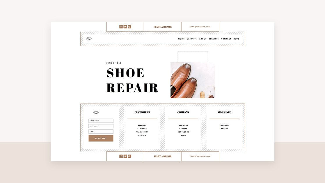 Download a FREE Header & Footer for Divi's Shoe Repair Layout Pack