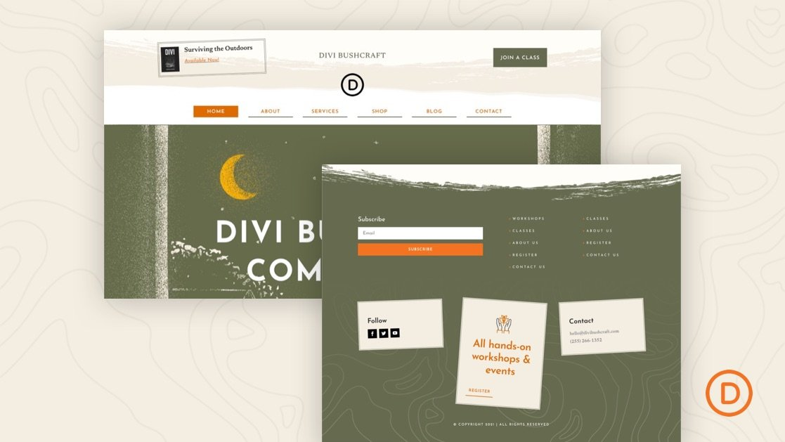 Download a FREE Header and Footer Template for Divi's Bushcraft Layout Pack
