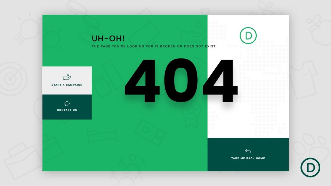 Download a FREE 404 Page Template for Divi's Crowdfunding Layout Pack
