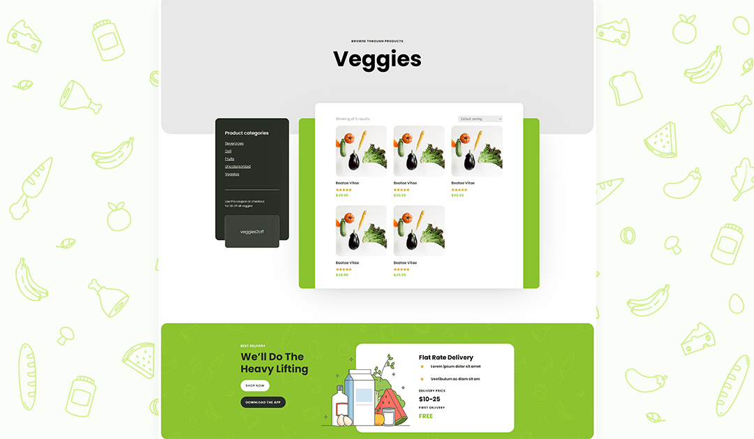 Download a FREE Product Category Page Template for Divi's Grocery Delivery Layout Pack
