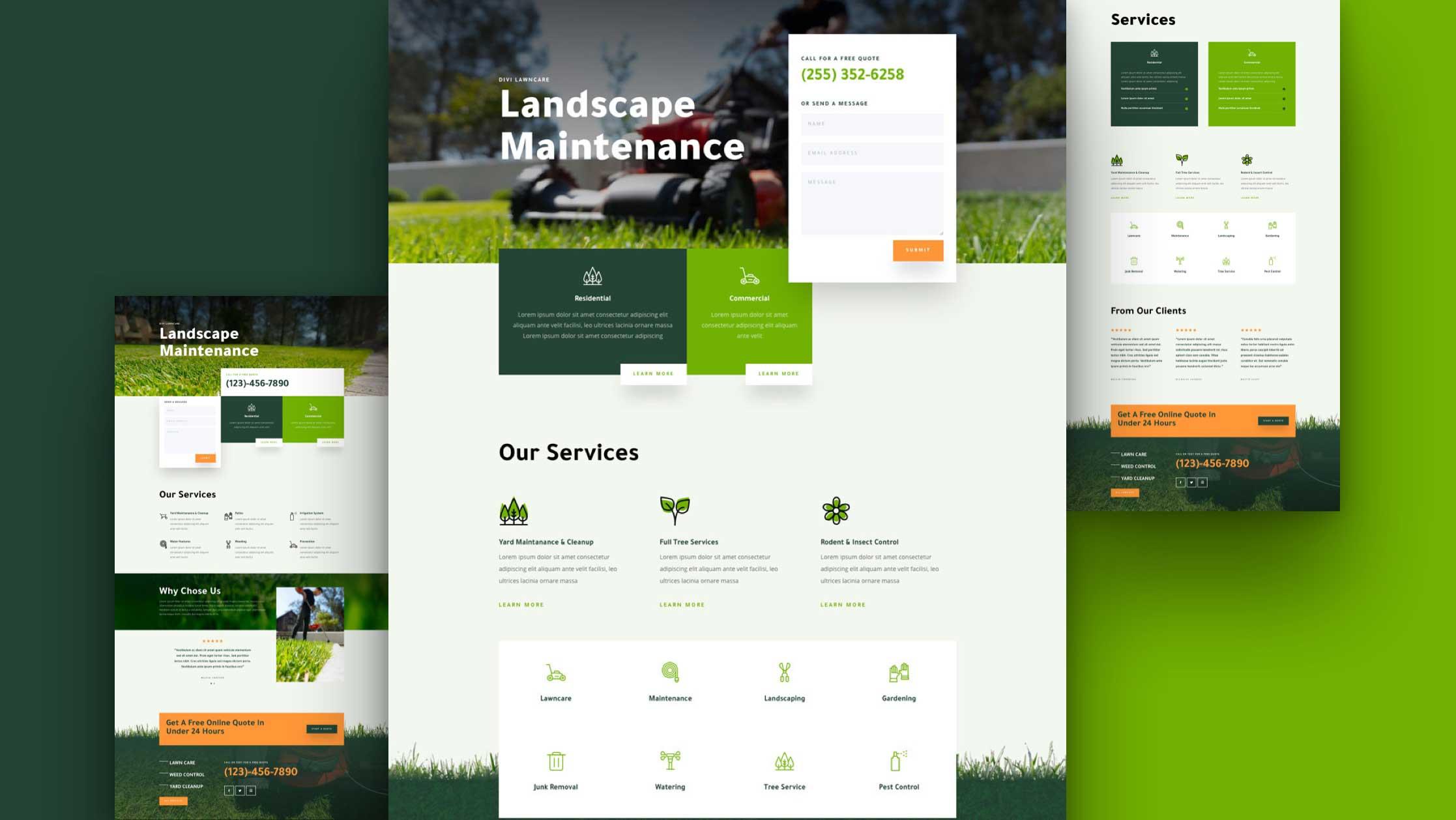 Get a FREE Landscape Maintenance Layout Pack for Divi