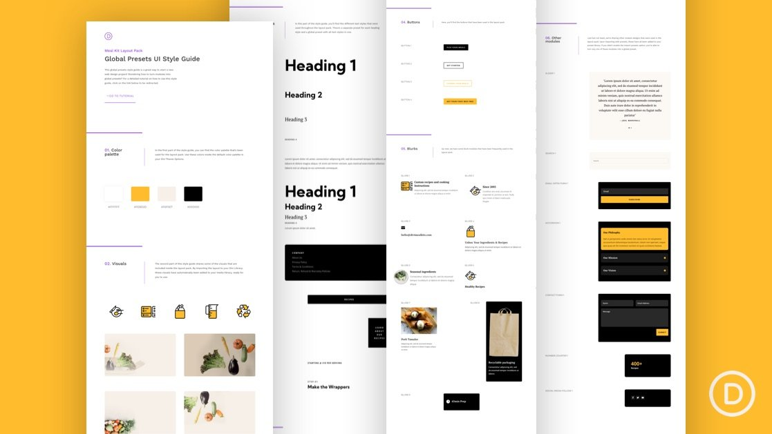 Download a FREE Global Presets Style Guide for Divi's Meal Kit Layout Pack