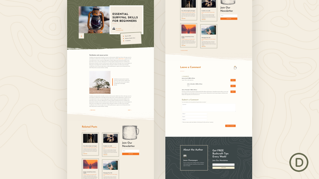 Download a FREE Blog Post Template for Divi's Bushcraft Layout Pack