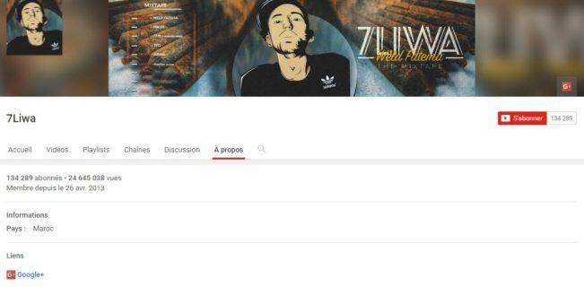 Chaîne Youtube de 7LIWA - Rap Maroc 2017