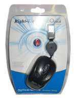 Right-Tec Optical Mini Mouse with Retractable Lead / Black