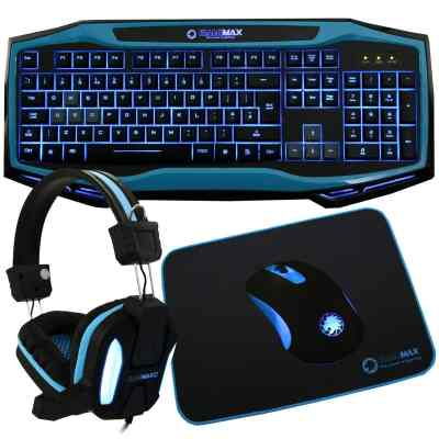 Game Max Raptor Keyboard/Mouse/Headset/Mouse mat Kit in blue