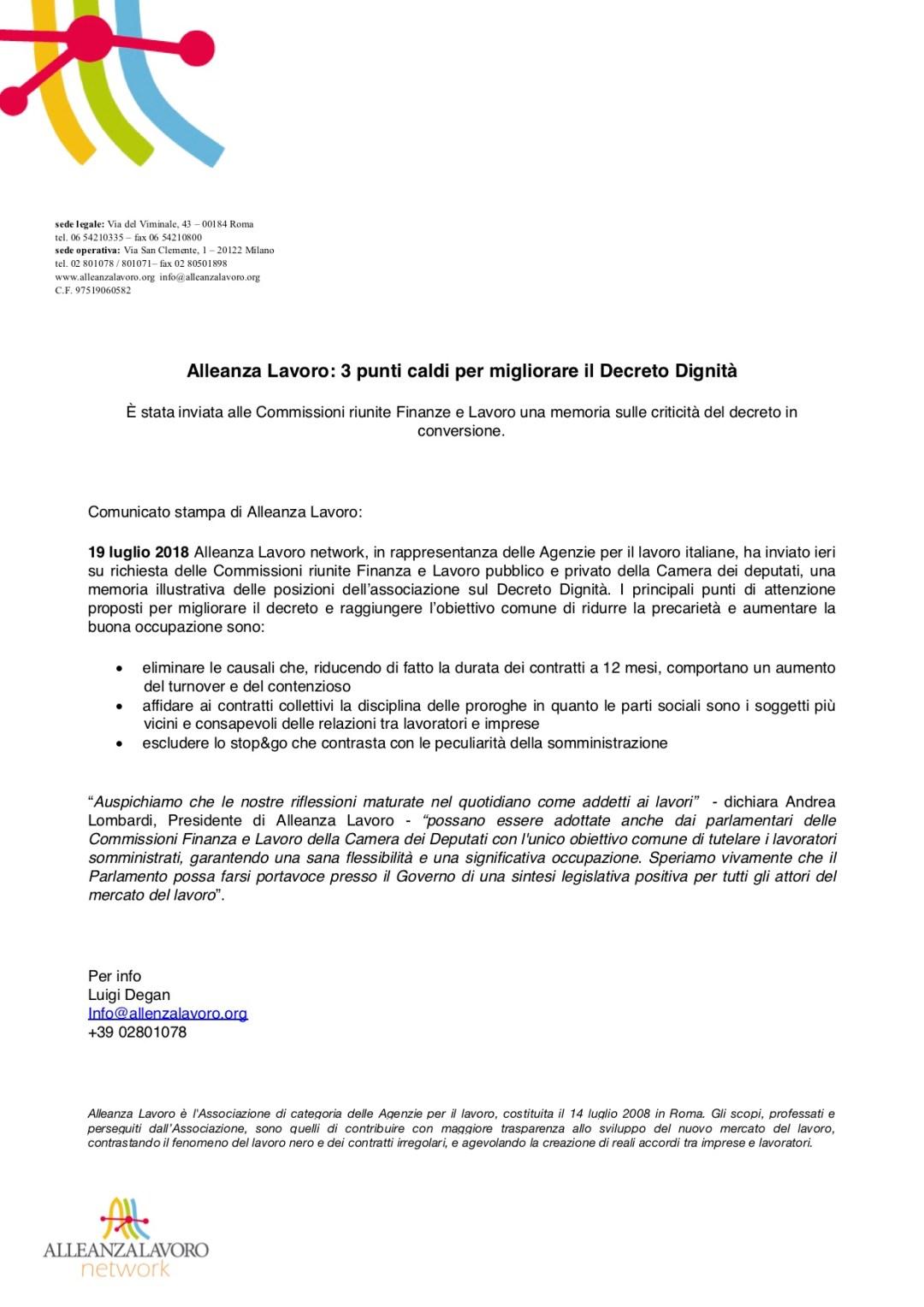 Alleanza Lavoro: 3 punti caldi per migliorare il Decreto Dignità