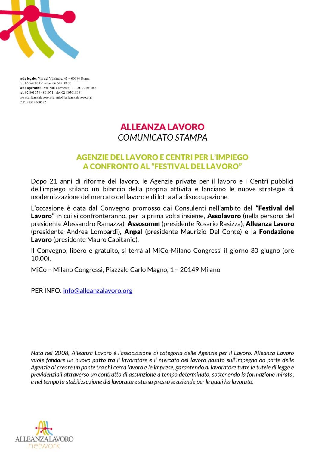 """Alleanza Lavoro: Agenzie del Lavoro e Centri per l'Impiego a confronto al """"Festival del Lavoro"""""""