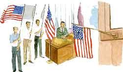 mostrando la bandera