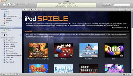 iTunes iPod-Spiele-Kategorie Bildschirmausschnitt
