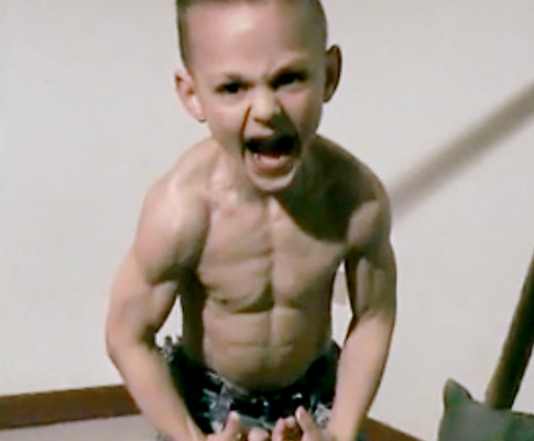 Picture of five-year old Romanian Giuliano Stroe who has become popular due to his feats of strength and balance.