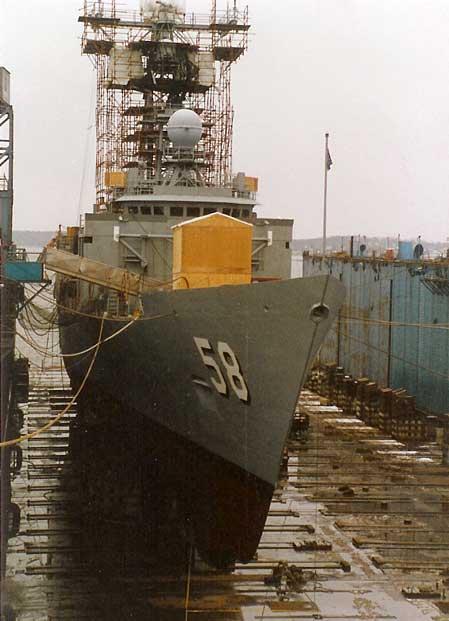 USS Samuel B. Roberts under repair in Bath Iron Works dry dock in Portland, Maine