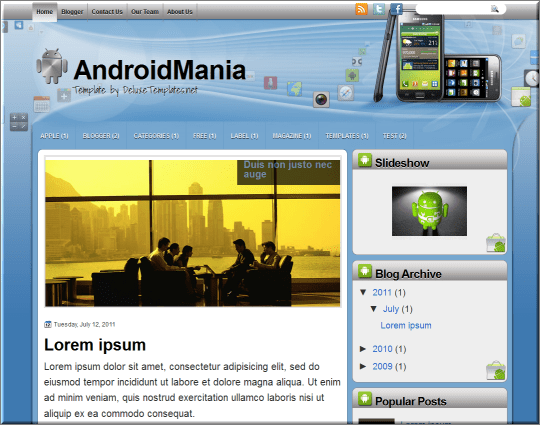 Android Mania blogger template
