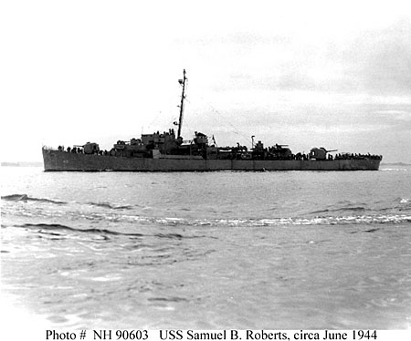DE 413, a U.S. Navy Butler-class destroyer escort, photographed in 1944, probably circa June, while off Boston, Massachusetts.