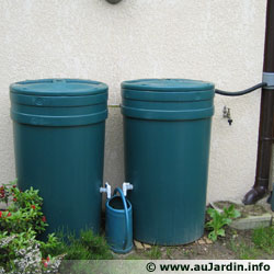 2 tanks containing 250 litres linked together.