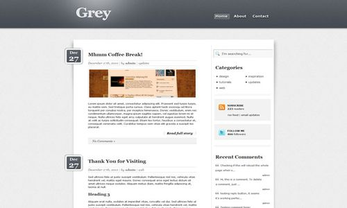 css3 grey html5 free wordpress theme 10 Free HTML5 WordPress Themes
