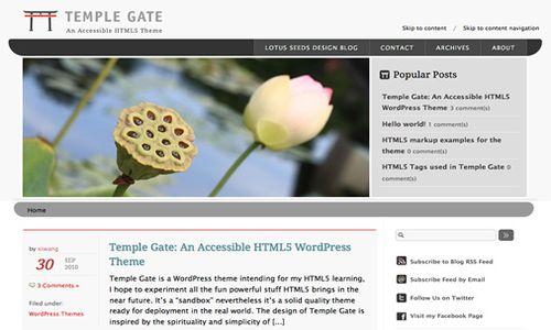 temple gate html5 free wordpress%2Btheme 10 Free HTML5 WordPress Themes