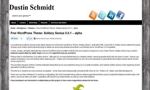 Solitary%2BGenius%2Bhtml%2Bfree%2Bwordpress%2Btheme 10 Free HTML5 WordPress Themes