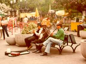 Street musicians in Jackson Square, New Orleans, 1974