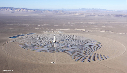 Aerial photo of Crescent Dunes CSP project, January, 2014. Photo courtesy SolarReserve