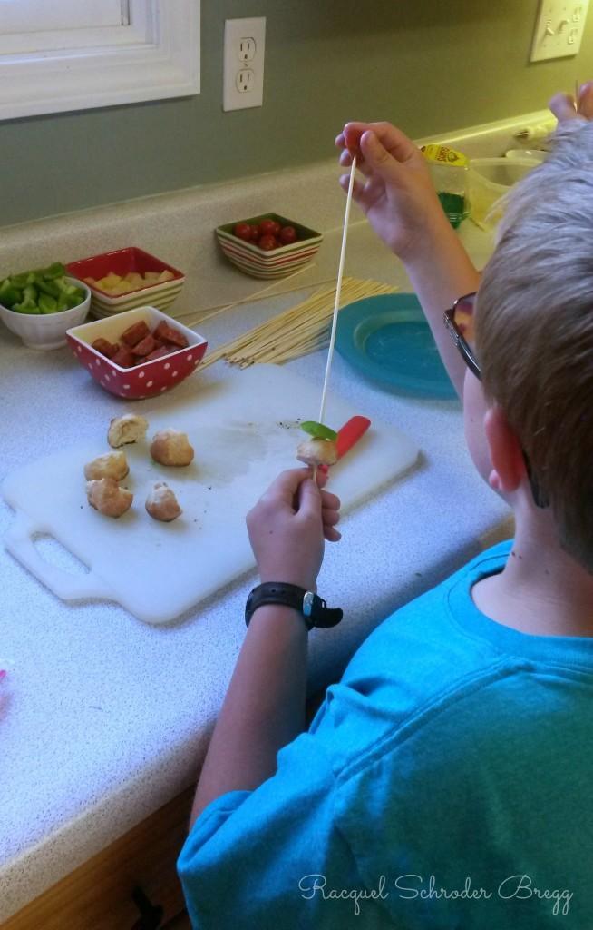 pizza kabobs kids making skewers
