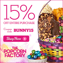 Make it an Egg-Ceptional Easter with 15% off site-wide at The Popcorn Factory! (offer valid until 04/20/2014) Use promo code BUNNY15