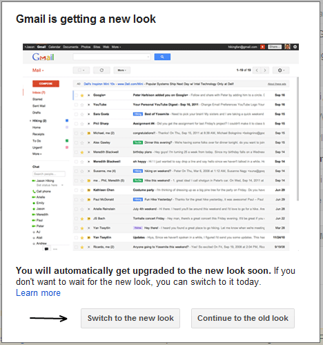 Switch to new Gmail layout