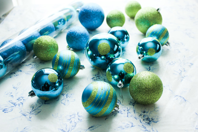 Blue and Green Christmas Ornaments