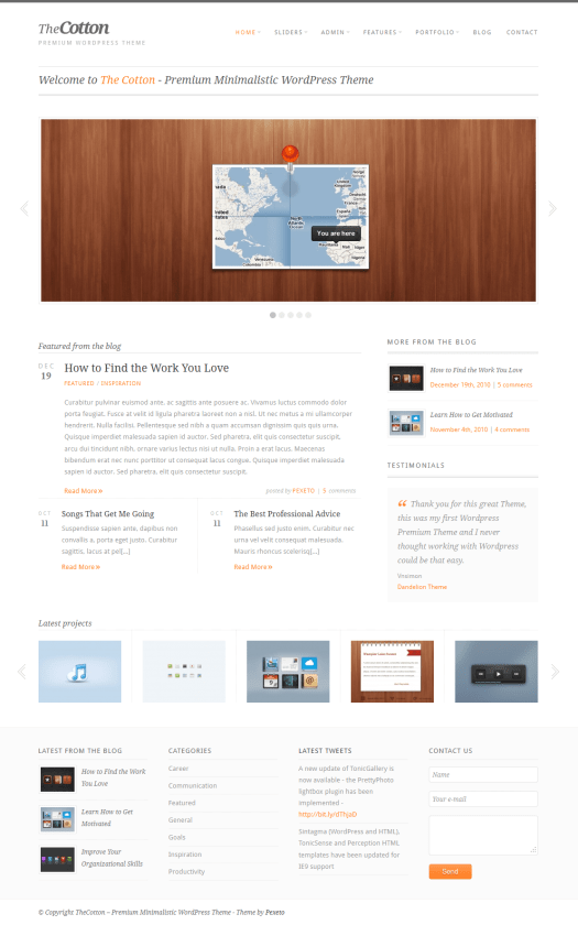 the cotton minimalist wordpress theme