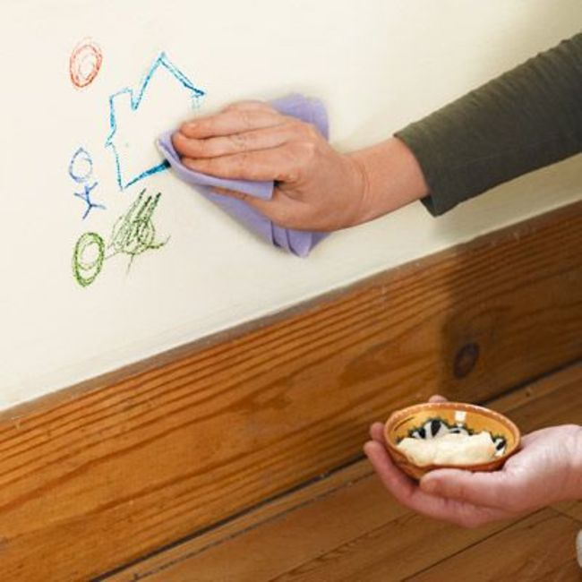 5. You can use Mayo with damp cloth to remove the crayons marks from the walls.