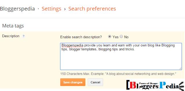 Search description in blogger
