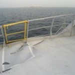 damage to port railings of ship