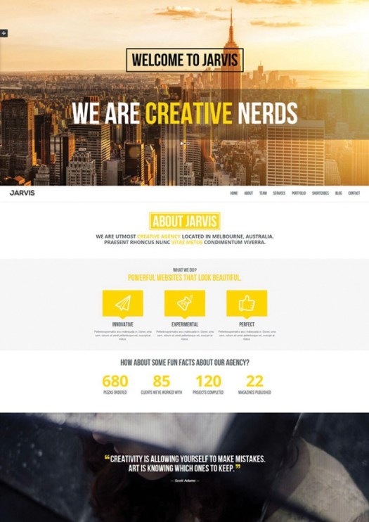jarvis parallax video portfolio theme