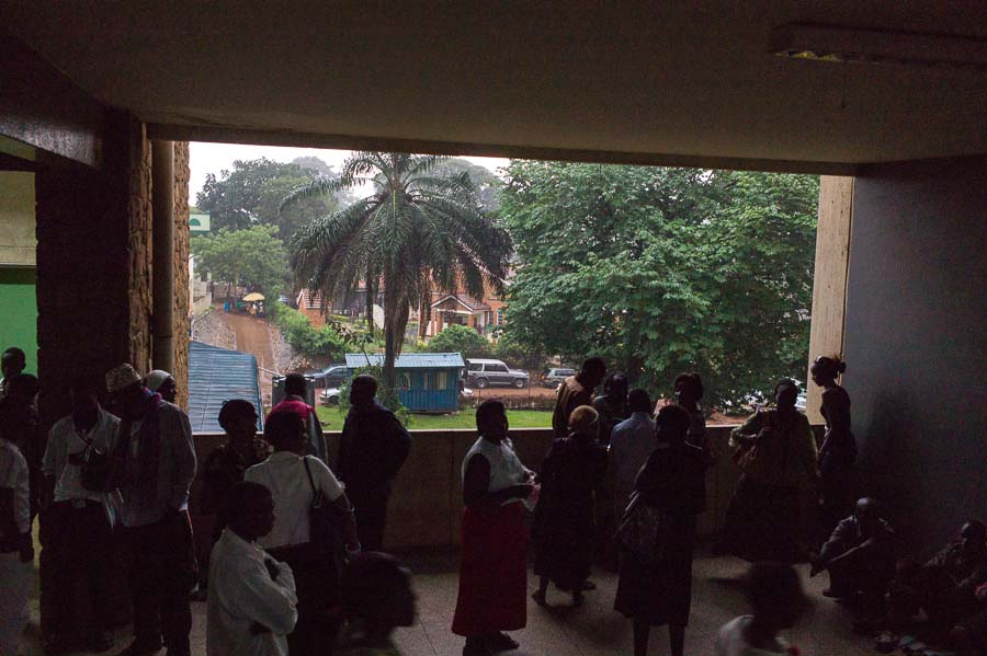 Relatives waiting in the corridor, Mulago hospital, Kampala