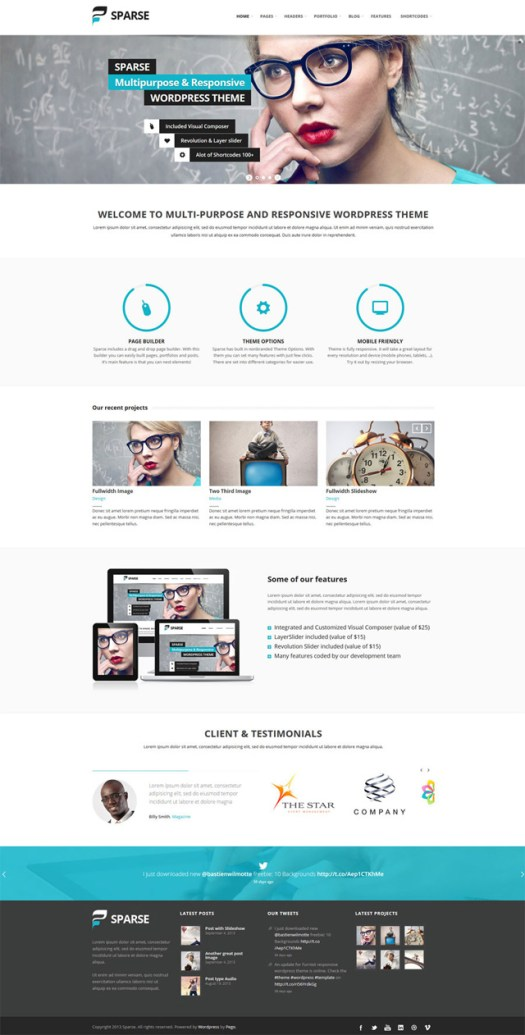 sparse WordPress theme with page builder