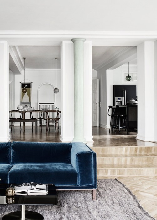 French furniture in velvet