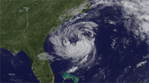 Satellite image of Subtropical Storm Ana forming off the East Coast. This image was taken by GOES East at 1245Z on May 8, 2015. (Credit: NOAA)